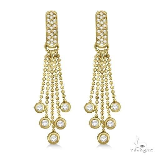 Pave Bridal Diamond Chandelier Earrings 14K Yellow Gold Stone
