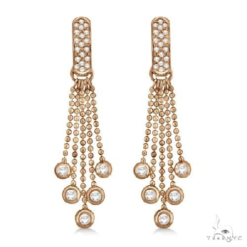 Pave Bridal Diamond Chandelier Earrings 14K Rose Gold Stone