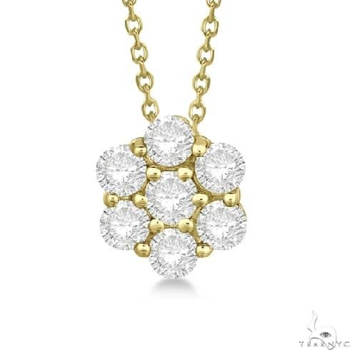 Cluster Diamond Flower Pendant Necklace 14K Yellow Gold Stone