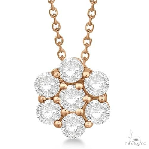 Cluster Diamond Flower Pendant Necklace 14K Rose Gold Stone