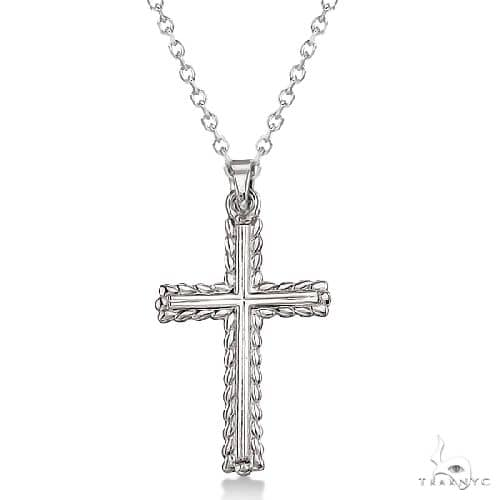 Braided Gold Cross Necklace for Men and Women 14K White Gold Metal