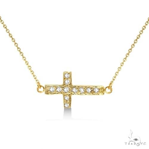Diamond Sideways Cross Necklace 16 Rope Chain 14K Yellow Gold Stone