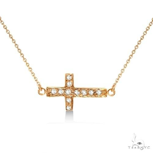 Diamond Sideways Cross Necklace 16 Rope Chain 14K Rose Gold Stone