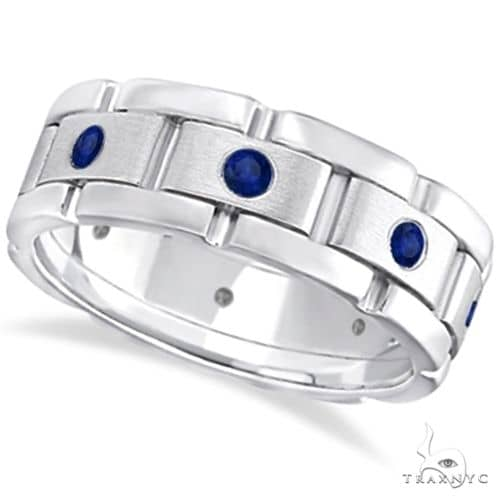 Mens Blue Sapphire Wedding Ring Wide Band 14k White Gold Stone