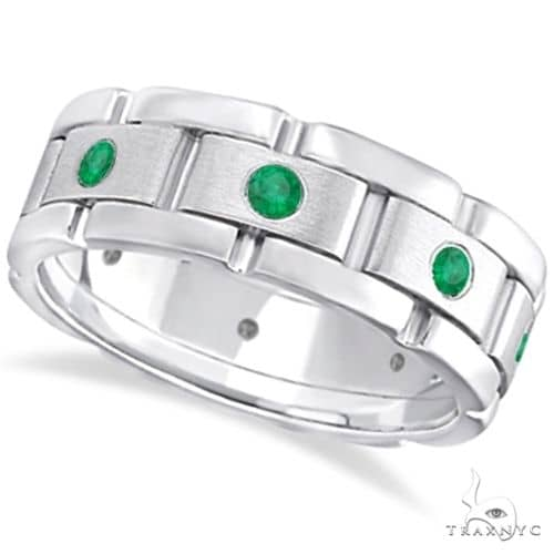 Mens Emerald Wedding Ring Wide Eternity Band 18k White Gold Stone
