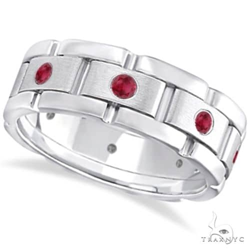 Mens Ruby Wedding Ring Wide Eternity Band 14k White Gold Stone