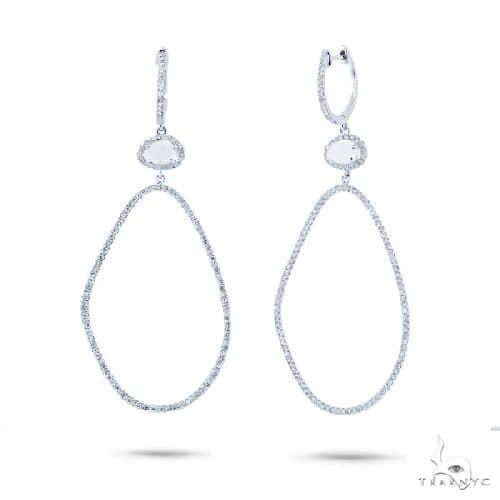 Diamond and 0.69ct White Topaz 14k White Gold Earrings Stone