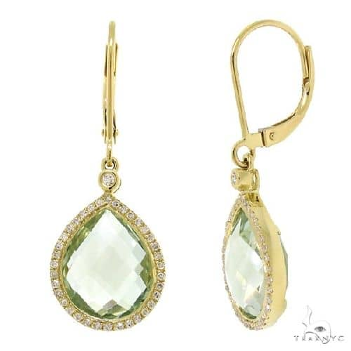 Diamond and 9.37ct Green Amethyst 14k Yellow Gold Earrings Stone