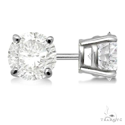 4-Prong Basket Diamond Stud Earrings Palladium G-H, VS2-SI1 Stone