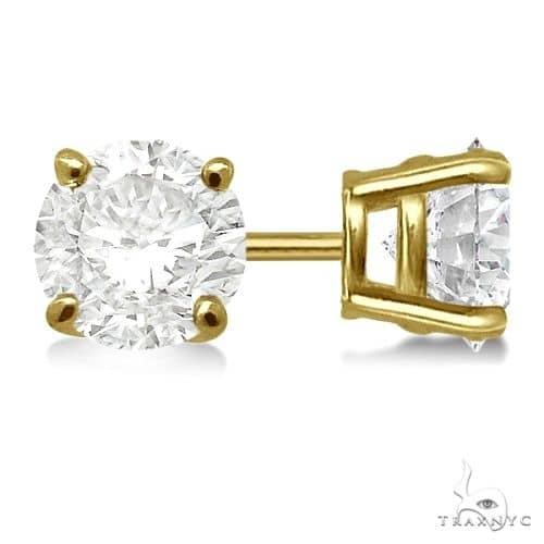 4-Prong Basket Diamond Stud Earrings 18kt Yellow Gold H, SI1-SI2 Stone