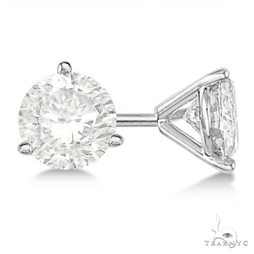 3-Prong Martini Diamond Stud Earrings Platinum H, SI1-SI2 Stone