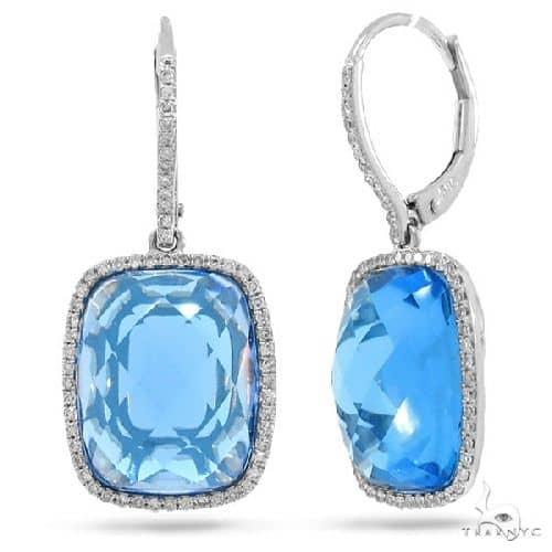 Diamond and 16.83ct Blue Topaz 14k White Gold Earrings Stone