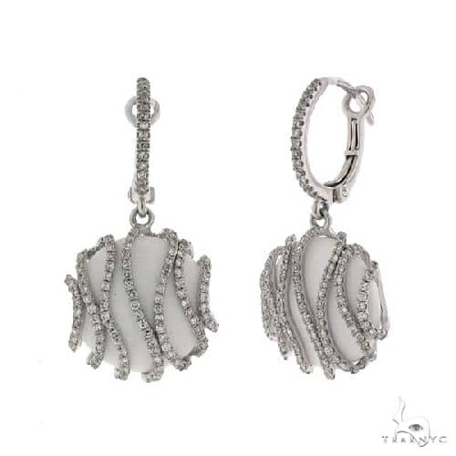 Diamond and 9.04ct White Onyx 14k White Gold Earrings Stone