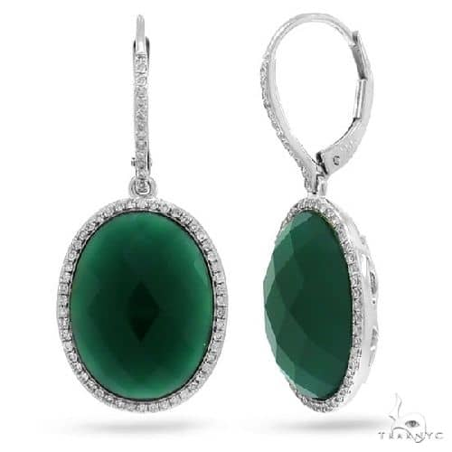 Diamond and 14.25ct Green Agate 14k White Gold Earrings Stone
