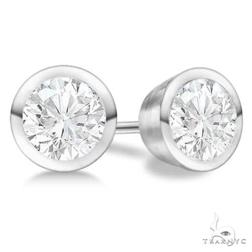 Bezel Set Diamond Stud Earrings Platinum G-H, VS2-SI1 Stone
