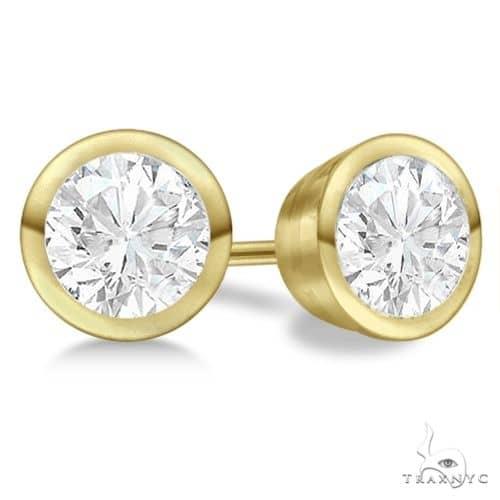 Bezel Set Diamond Stud Earrings 14kt Yellow Gold H, SI1-SI2 Stone