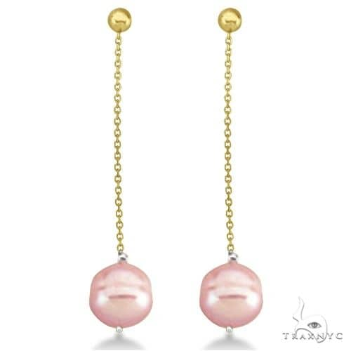 Pink Freshwater Cultured Circle Pearl Earrings 14K Yellow Gold (9-11mm) Stone