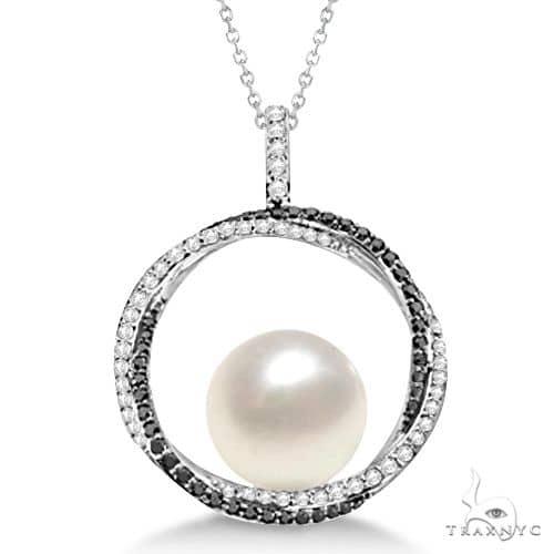 South Sea Pearl Pendant w/ White and Black Diamonds 14K W. Gold (12mm) Diamond