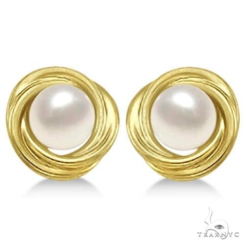 Knot Akoya Cultured Pearl Earrings 14K Yellow Gold (6mm) Stone