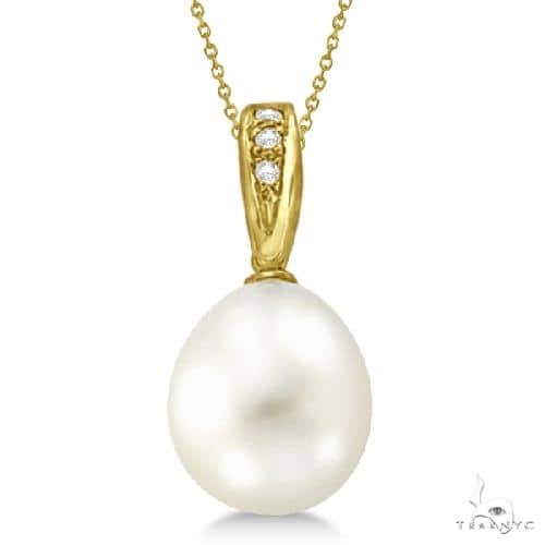 Cultured Paspaley South Sea Pearl and Diamond Pendant 14K Yellow Gold 12mm Stone