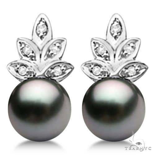 Akoya Cultured Black Pearl and Diamond Floral Earrings 14K W. Gold (7mm) Stone