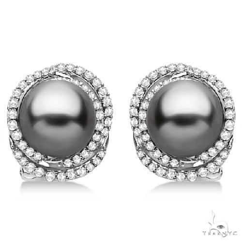 Tahitian Cultured Pearl and Diamond Stud Earrings 14K White Gold (9mm) Stone