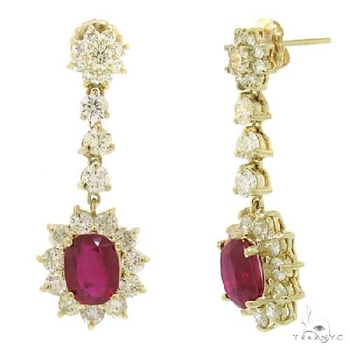 4.27ct Diamond and 7.05ct Glass Filled Ruby 14k Yellow Gold Earrings Stone