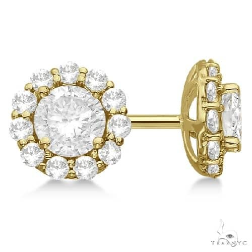 Halo Diamond Stud Earrings 14kt Yellow Gold G-H, VS2-SI1 Stone