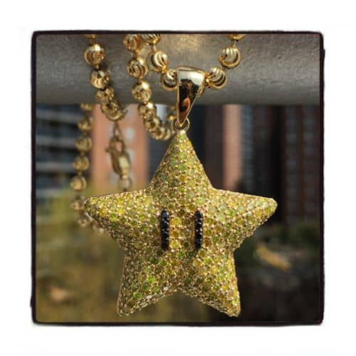 Super Mario Bros Star Yellow Color Diamond Pendant ダイヤモンド ペンダント