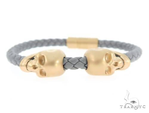 Skull Head Leather Bracelet 56484 Silver