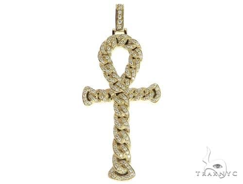 14K Yellow Gold Diamond Ankh Cross Pendant 56545 Metal