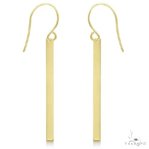Fishhook Dangling Bar Earrings in 14k Yellow Gold Metal