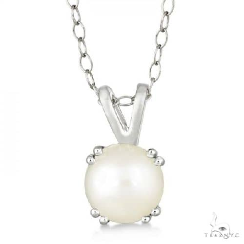 Round White Pearl Solitaire Pendant Necklace Sterling Silver (7mm) Stone