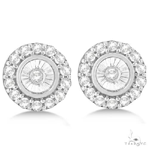 Miracle Set Cluster Halo Diamond Earrings Studs 14k White Gold Stone