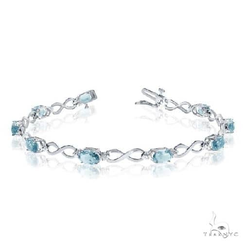 Oval Aquamarine and Diamond Infinity Bracelet in 14k White Gold Gemstone & Pearl