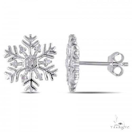 Snowflake Stud Earrings with Diamond Accents in Sterling Silver Stone