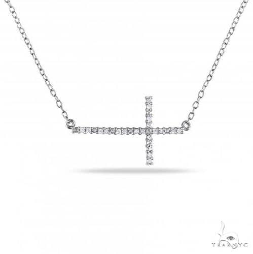 Diamond Sideways Cross Necklace for Women in Sterling Silver Diamond