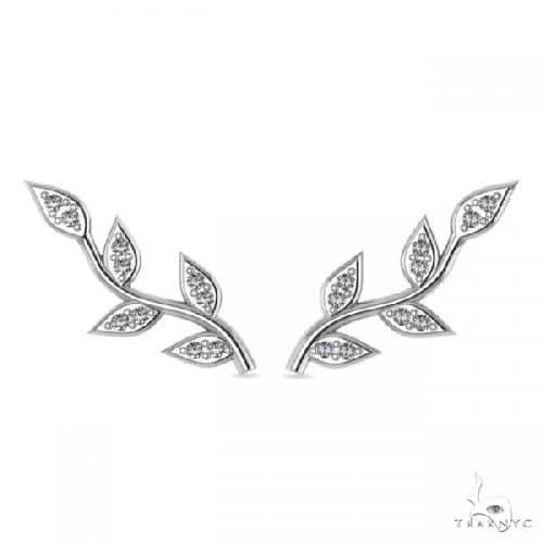 Vine Leaf Ear Cuffs Diamond Accented 14k White Gold Stone