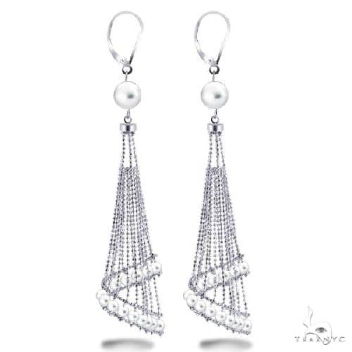White Freshwater Chandelier Pearl Earrings in Sterling Silver Stone