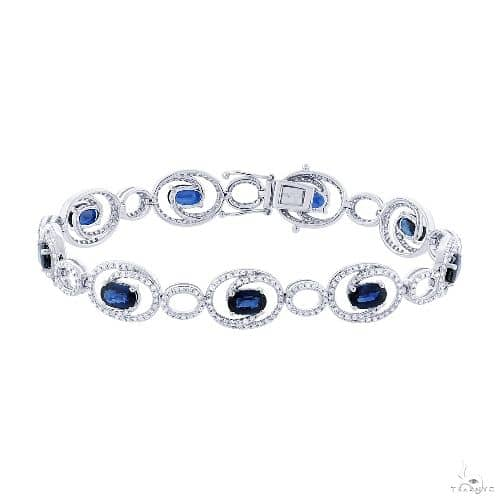 1.36ct Diamond and 5.77ct Blue Sapphire 14k White Gold Bracelet Gemstone & Pearl