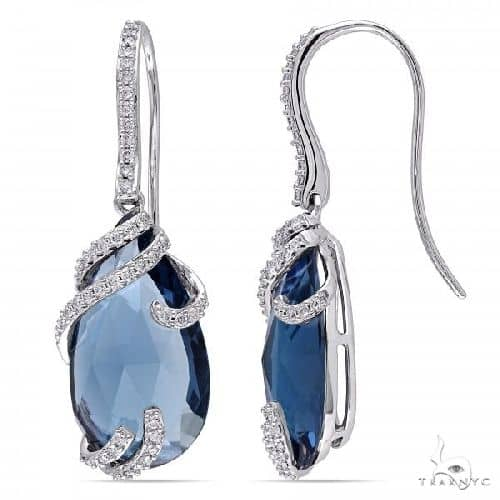 Diamond and Pear London Blue Topaz Earrings in 14k White Gold Stone