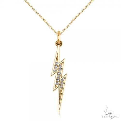 Diamond Lightning Bolt Pendant Necklace in 14k Yellow Gold Stone