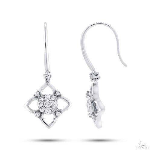 14k White Gold Diamond Earrings Stone