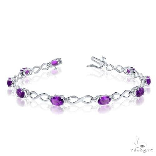 Oval Amethyst and Diamond Infinity Bracelet in 14k White Gold Gemstone & Pearl