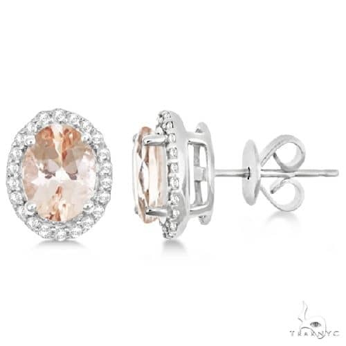 Oval Morganite and Diamond Halo Stud Earrings Sterling Silver Stone