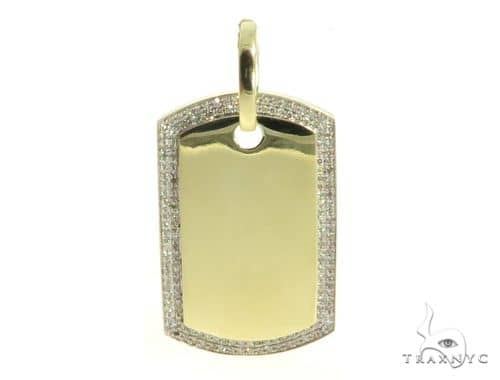 10K Yellow Gold Diamond Dog Tag Pendant 56739 Style