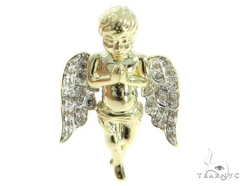 10K Gold Prong Diamond Angel Pendant 56750 Style