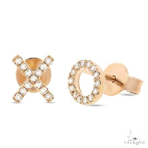 14k Yellow Gold Diamond \xo\ Stud Earrings Stone