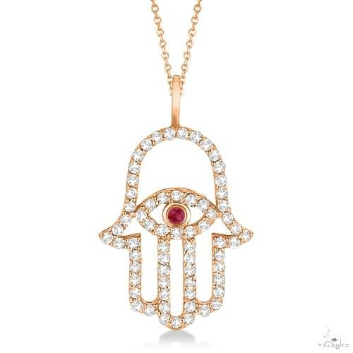 Diamond and Ruby Hamsa Evil Eye Pendant Necklace 14k Rose Gold Stone