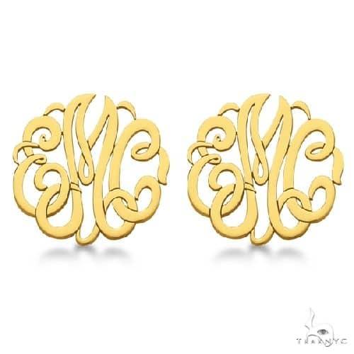 Personalized Monogram Post-Back Stud Earrings in 14k Yellow Gold Metal
